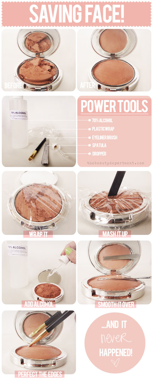 how to fix a broken compact, broken compact fix, blush broke, broken blush, how to fix