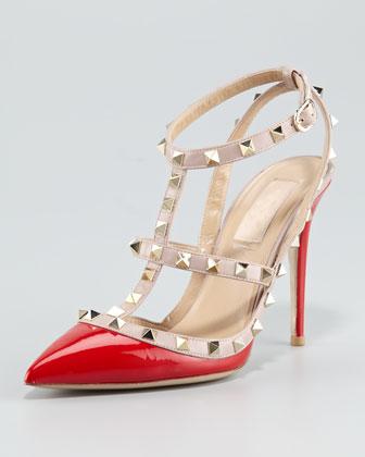 Valentino Rockstud Patent Sandal