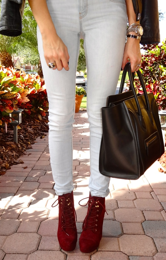celine bag, rag and bone, printed tee, michael kors, hermes, wedge booties