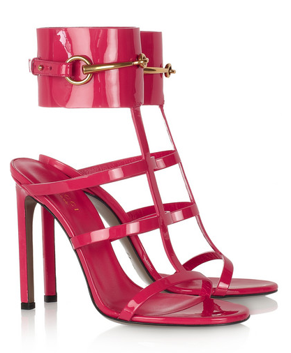 GUCCI Patent-leather ankle-cuff sandals at Net-a-Porter, $850