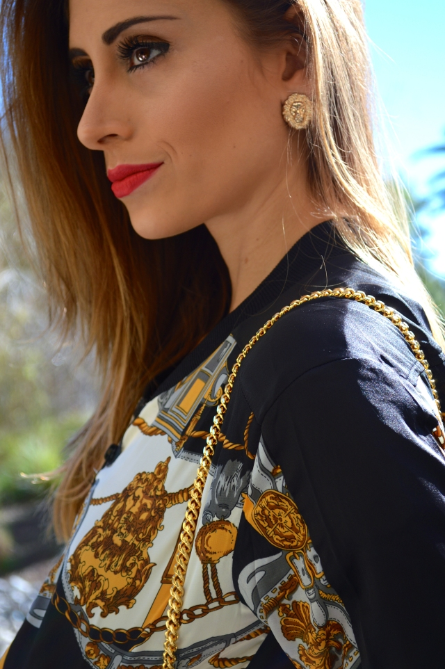 lion head earrings, lion earrings, versace jacket, versace, versace inspired look, versace inspired jacket