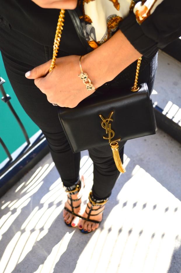 ysl, ysl monogramme crossbody, ysl tassle bag, jaguar bracelet, versace, versace jacket, versace look, ursula, gucci, gucci ursula, gucci ursula black patent