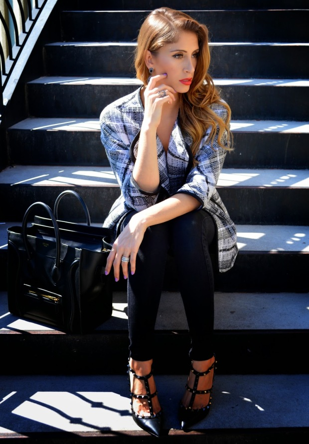 super fashionable, ananda saba, fashion blog, fashion blogger, best fashion blog, lina shatara, h&M plaid jacket, 7 for all mankind black jeans, rockstud valentino, celine bag, fashionista