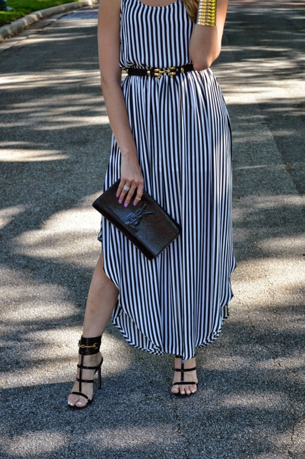 gucci ursula heels, ysl clutch, saint laurent clutch, kardashian kollection, kardashian kollection maxi dress, kardashian maxi dress, kardashian striped maxi dress