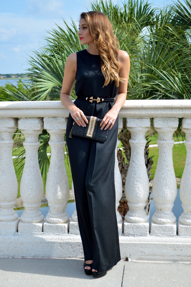 mango jumpsuit, christian louboutin royal pallais, carmen steffens gold and black clutch, super fashionable, ananda saba, henri bendel, metal haven by kendall and kylie