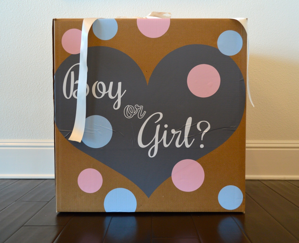 gender reveal party, gender reveal party ideas, gender reveal party balloon box,