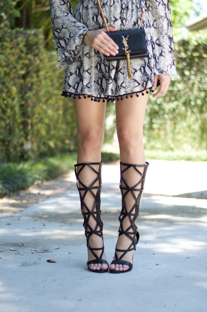 snake print dress, boho look, gladiator heels, saint laurent tassel purse, ysl lipstick, le orange lipstick, snake summer dresses, super fashionable, ananda saba